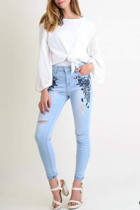 Umgee USA Embroidered-Distressed Skinny Jean