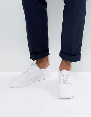Asos Lace Up Sneakers In White Leather