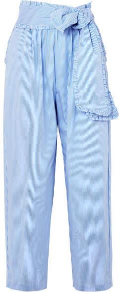MSGM - Ruffled Striped Cotton-blend Poplin Tapered Pants - Blue