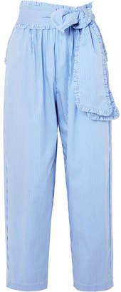MSGM Ruffled Striped Cotton-blend Poplin Tapered Pants - Blue