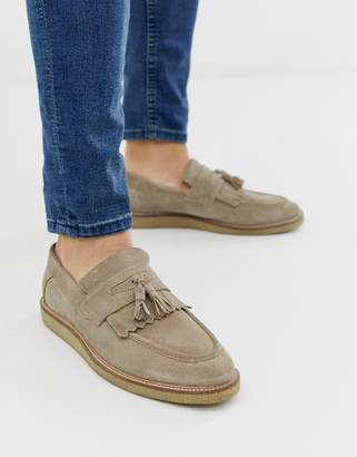 Asos Design DESIGN loafers in stone suede with faux crepe sole