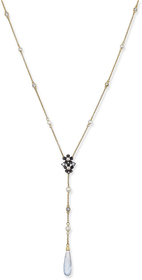Kate Spadekate spade new york Gold-Tone Crystal and Imitation Pearl Lariat Necklace