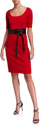 Elie Tahari Siona Scoop-Neck Short-Sleeve Dress with Sash Belt