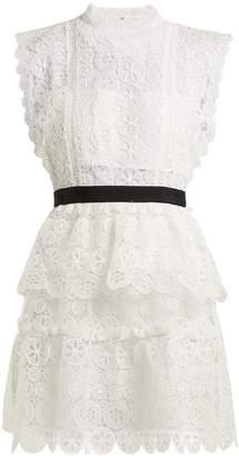 Self-Portrait Floral-lace bandeau mini dress
