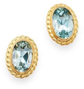 Bloomingdale's Aquamarine Oval Bezel Stud Earrings in 14K Yellow Gold - 100% Exclusive