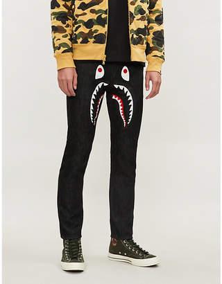 A Bathing Ape Shark-print regular-fit straight jeans