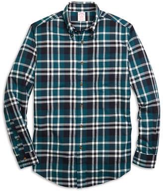 Brooks Brothers Madison Fit Flannel Grid Plaid Sport Shirt