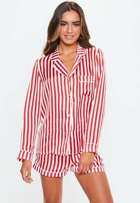 Missguided Candy Stripe Satin PJ Set