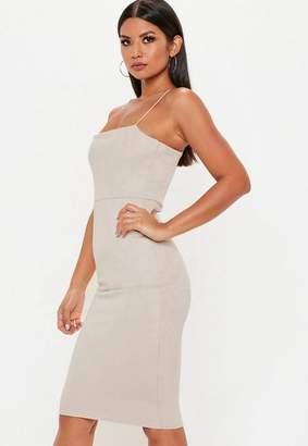 Missguided Nude Strappy Square Neck Suedette Midi Dress