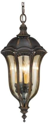 Feiss Baton Rouge Four Light Walnut Gold Luster Tinted Glass Hanging Lantern