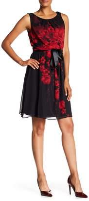 Connected Apparel Floral Print Ribbon Tie Waist Dress