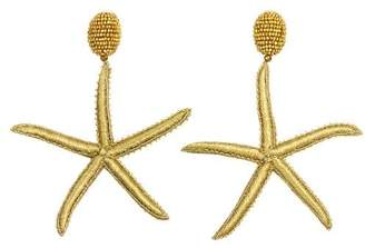Oscar de la Renta Black Threaded Star Fish Earrings