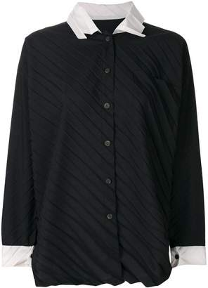 Issey Miyake pleated buttoned up blouse