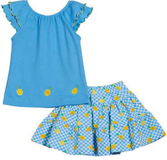 Florence Eiseman Ruffle Sleeve Top w/ Gingham Pineapple-Print Skort, Size 2-6X