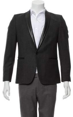 The Kooples Leather-Trimmed Wool Blazer