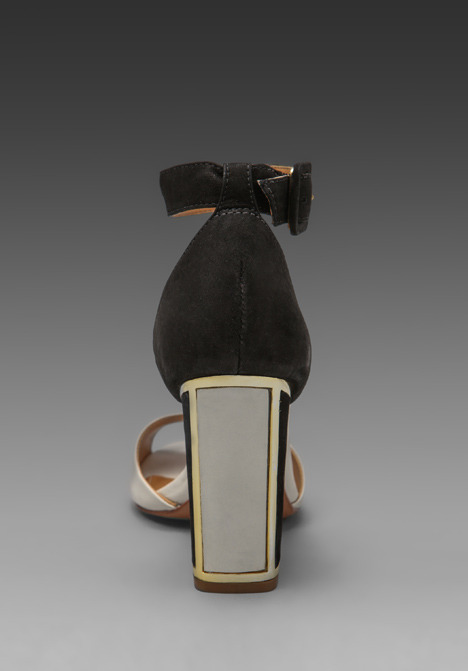 Schutz Inaya Heeled Colorblock Sandal in Lirio/Preto