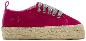 Manebi Red Velvet Monaco Lace-Up Espadrilles