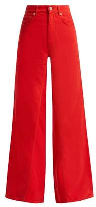 Ganni High Rise Wide Leg Jeans - Womens - Red