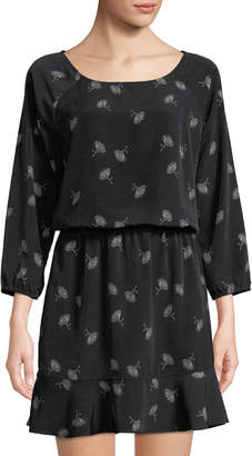 Joie Feather-Print Crepe Dress