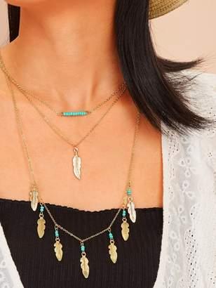 90c6dcaa26 Shein Leaf Pendant Multi Layered Necklace 1pc