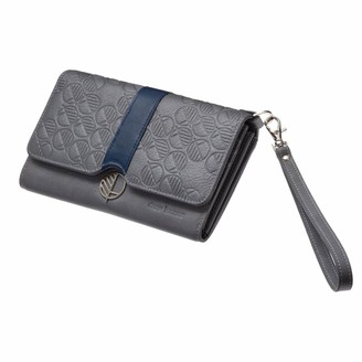 Drew Lennox Silver & Blue English Leather Clutch Bag Travel Wallet
