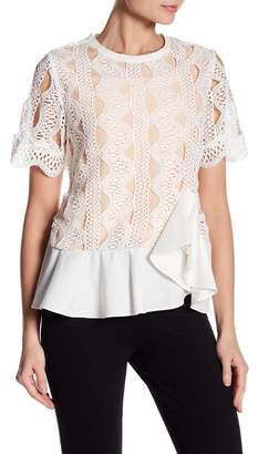 Gracia Embroidered Lace Ruffle Hem Top