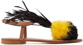 ÁLVARO Arajan feather-trimmed leather sandals