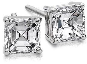 Asscher Diamond Studs in Platinum (1 1/2 ct. tw.)