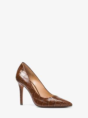 MICHAEL Michael Kors Claire Crocodile-Embossed Leather Pump