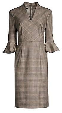 Escada Women's Dinfo Plaid Ruffle-Sleeve Sheath Dress