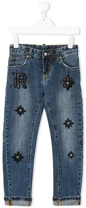 John Richmond Kids floral logo patch jeans