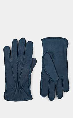 Barneys New York Men's Cashmere-Lined Deerskin Gloves - Blue