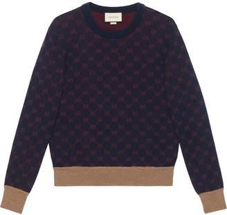 Gucci Logo Print Wool Crew Neck Sweater