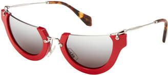 Miu Miu SMU 11Q Red & Silver-Tone Cat Eye Sunglasses