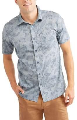 Cherokee Men's Allover Print Short Sleeve Woven Shirt