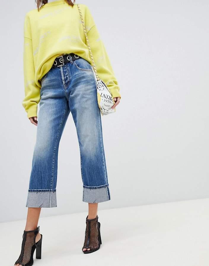 highwaisted straight leg jean with turn up