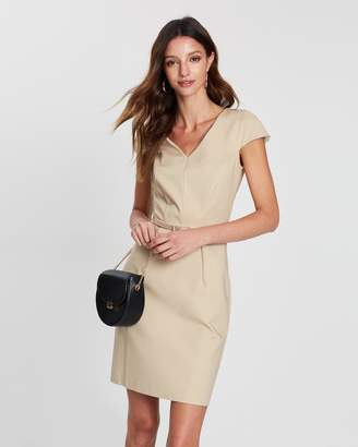 Mng Belted Cotton Dress