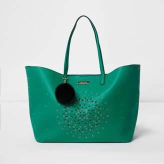 River Island Green laser cut eyelet large tote bag