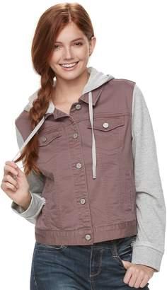 Mudd Juniors' Hooded Knit Sleeve Jean Jacket