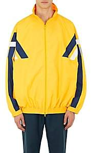 Balenciaga Men's Striped Tech-Fabric Oversized Track Jacket - Yellow