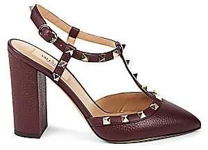 Valentino Women's Rockstud Block-Heel Leather Slingback Pumps