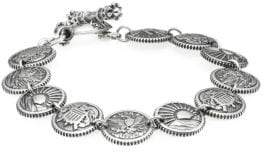King Baby Studio American Voices Eagle, Sun, Shield Sterling Silver Concho Bracelet
