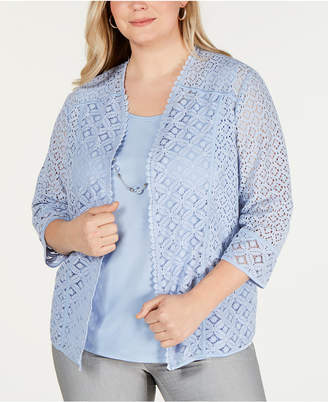 Alfred Dunner Plus Size Southampton Lace Layered Look Top
