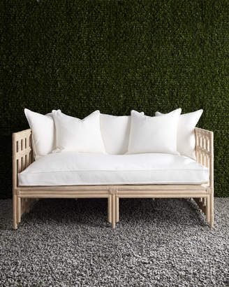 Horchow White Faux-Bamboo Outdoor Sofa