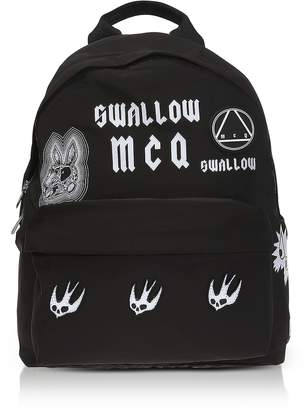 McQ Sponsorship Black Nylon Women's Backpack w/ Badges