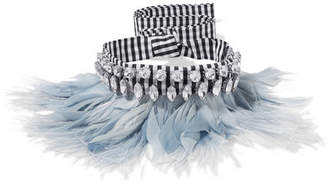 Miu Miu Gingham Cotton, Feather And Crystal Choker - Light blue