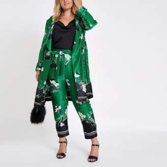 River Island Plus green floral tapered pants