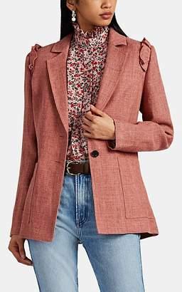 Robert Rodriguez Women's Chelsea Linen-Blend Hopsack Two-Button Blazer - Pink