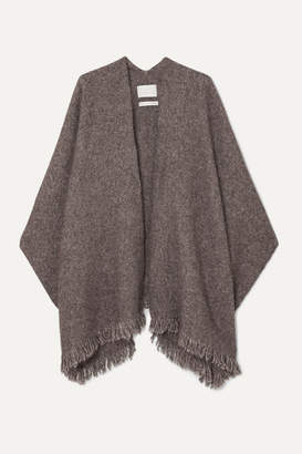 LAUREN MANOOGIAN Fringed Mélange Alpaca And Pima Cotton-blend Wrap - Dark gray
