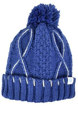 Women's Cold Front Heavy Cable Knit Cuff Beanie with Pom, Fleece Lined
